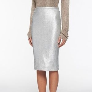 [DVF] Silver Metallic Tube Skirt